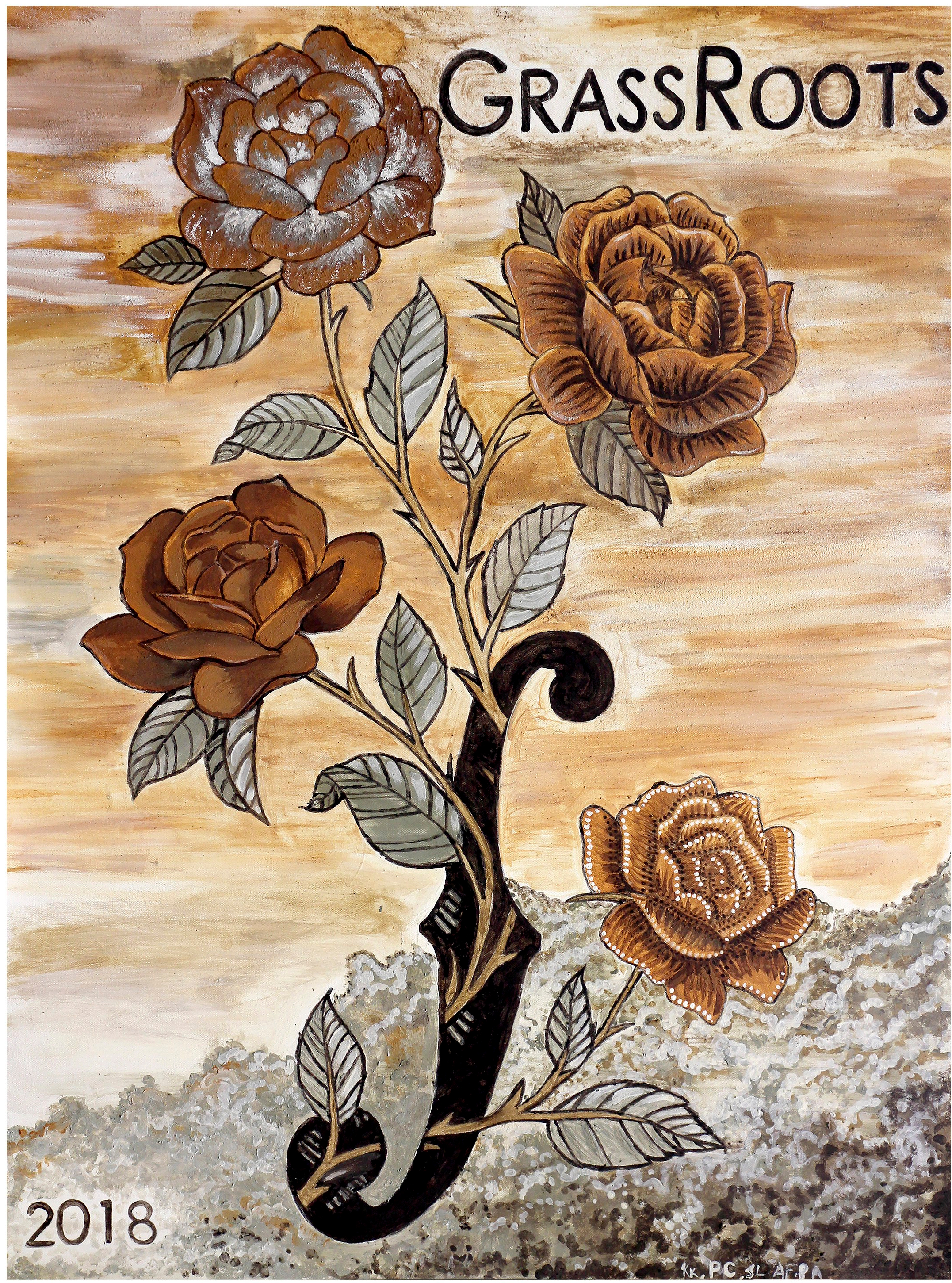 Roses, soil and gesso, 2018